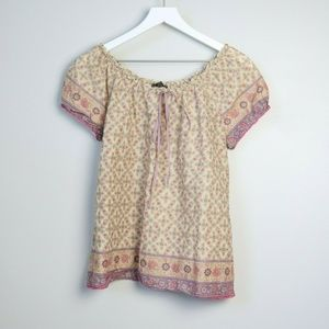 Lucky Brand Floral Short Sleeve Blouse
